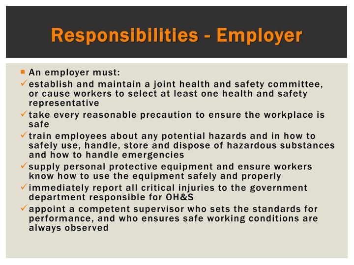 Responsibilities - Employer
