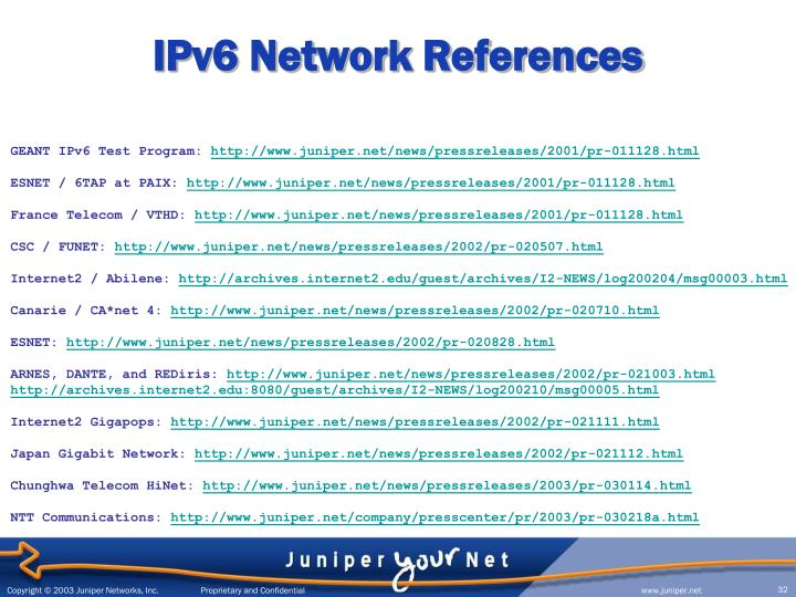 IPv6 Network References