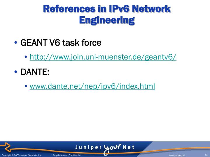 References in IPv6 Network Engineering
