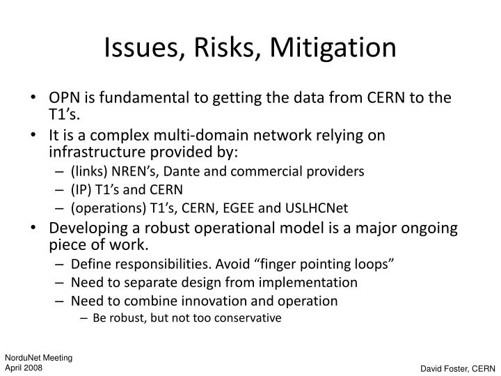 Issues, Risks, Mitigation