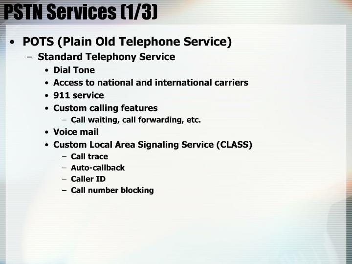 PSTN Services (1/3)