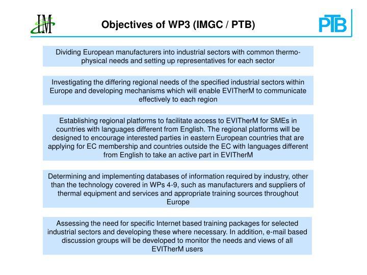 Objectives of WP3 (IMGC / PTB)