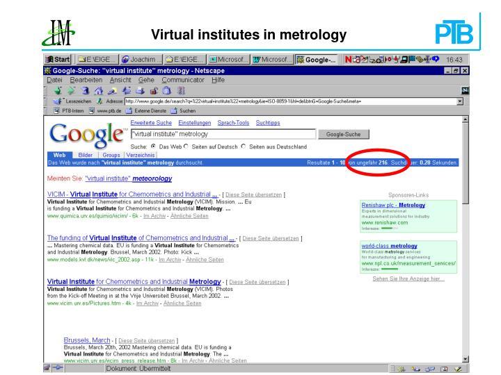 Virtual institutes in metrology