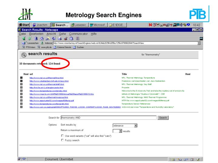 Metrology Search Engines