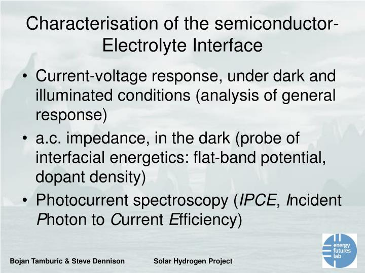 Characterisation of the semiconductor-Electrolyte Interface