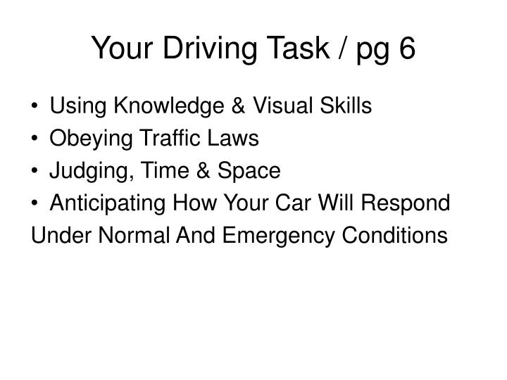 Your Driving Task / pg 6