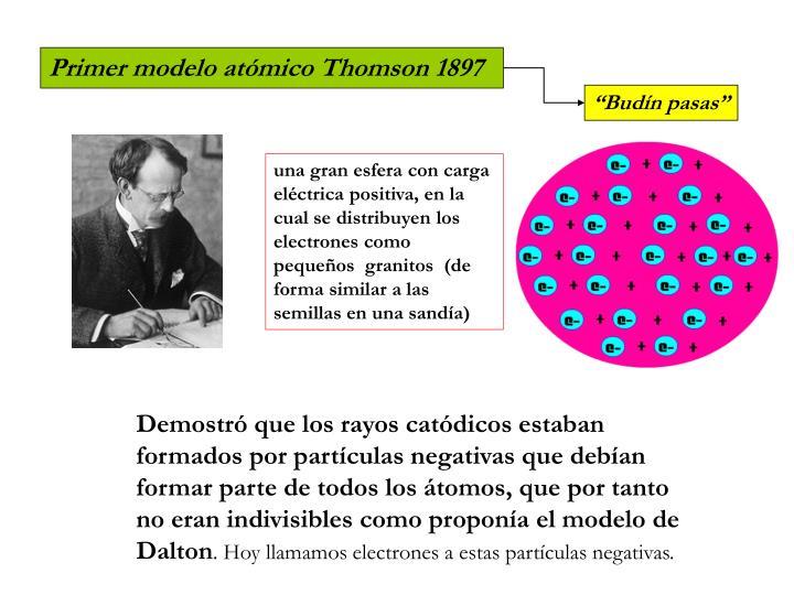 Primer modelo atómico Thomson 1897