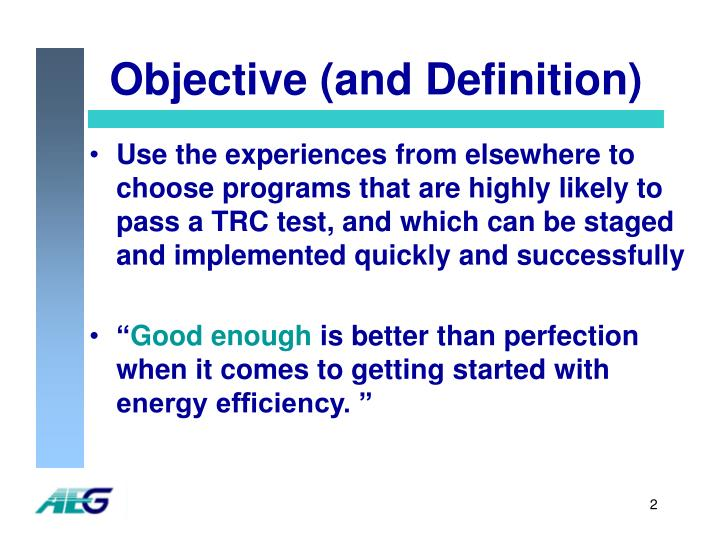 Objective and definition