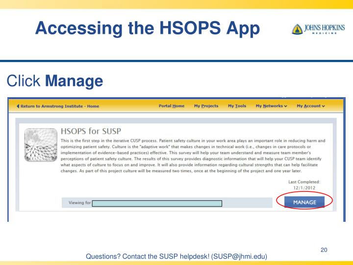 Accessing the HSOPS App