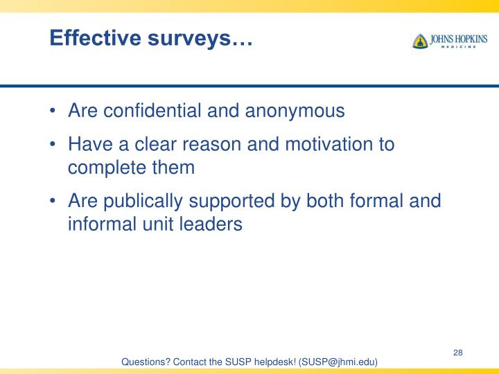 Effective surveys…