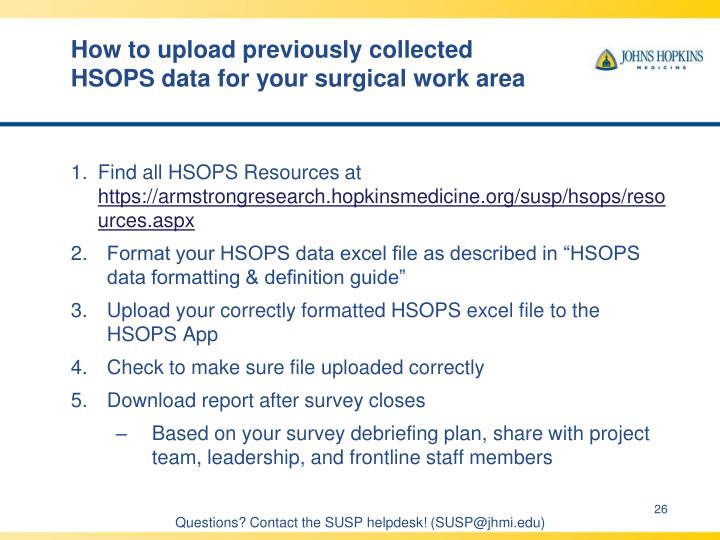 How to upload previously collected HSOPS data for your surgical work area