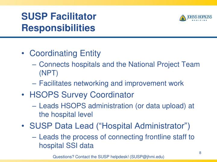 SUSP Facilitator Responsibilities