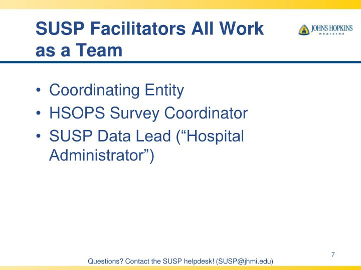 SUSP Facilitators All Work as a Team
