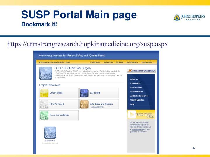 SUSP Portal Main page