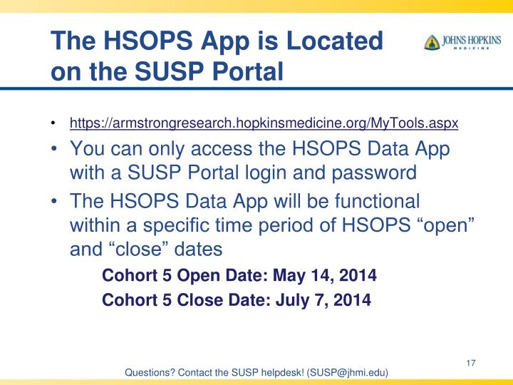 The HSOPS App is Located on the SUSP Portal