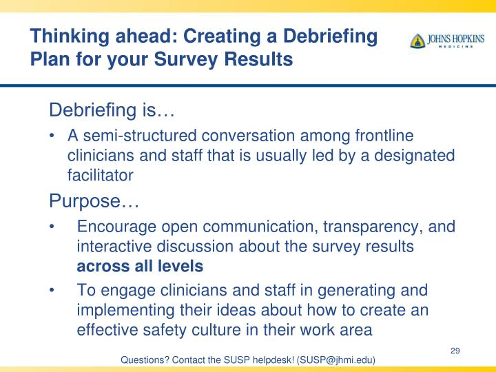 Thinking ahead: Creating a Debriefing Plan for your Survey Results
