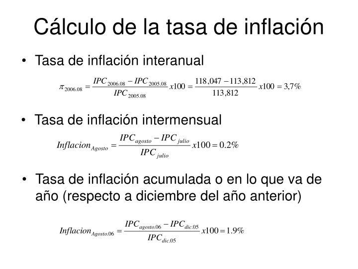 Cálculo de la tasa de inflación