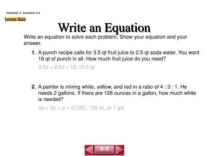 COURSE 3  LESSON 5-3