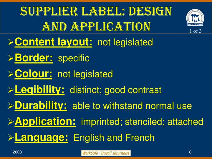 Supplier label: Design and Application