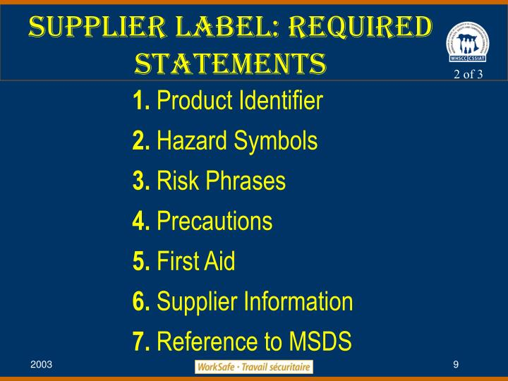 Supplier Label: Required Statements