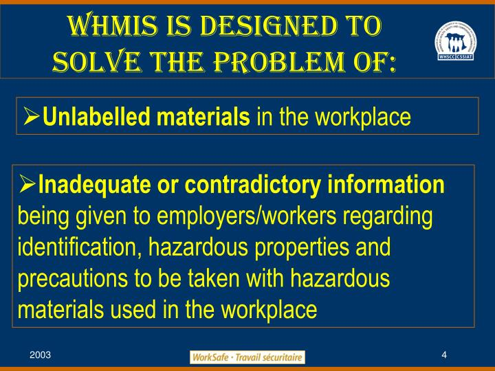 WHMIS is Designed to Solve the Problem of: