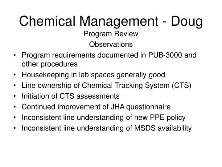 Chemical Management - Doug