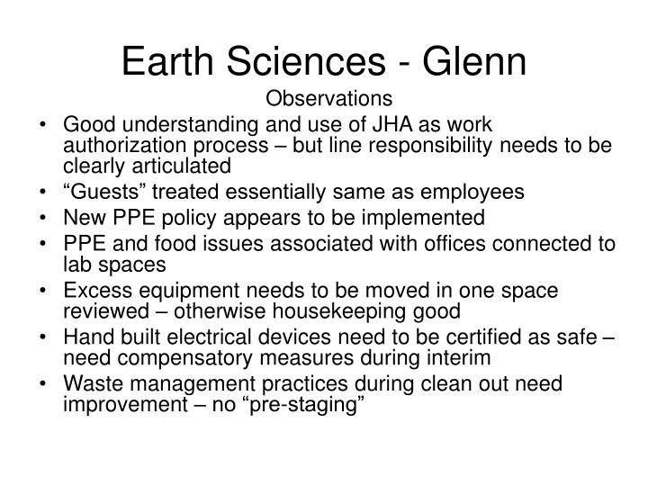 Earth Sciences - Glenn
