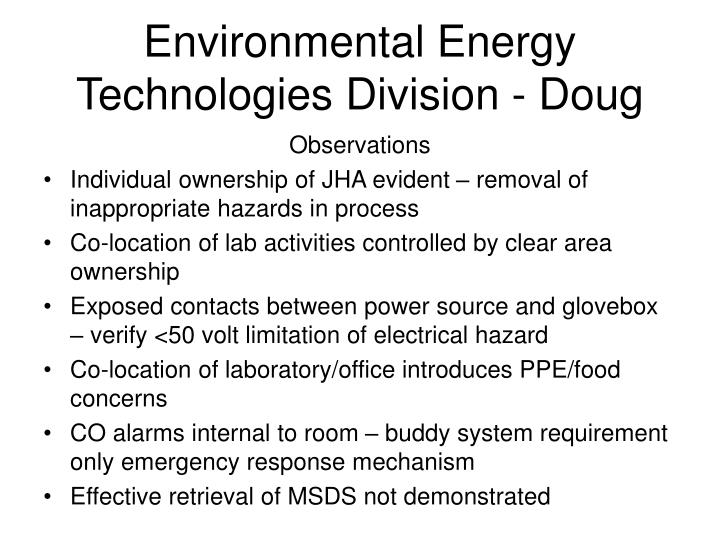 Environmental Energy Technologies Division - Doug