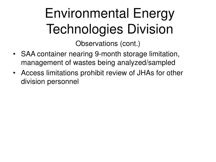 Environmental Energy Technologies Division