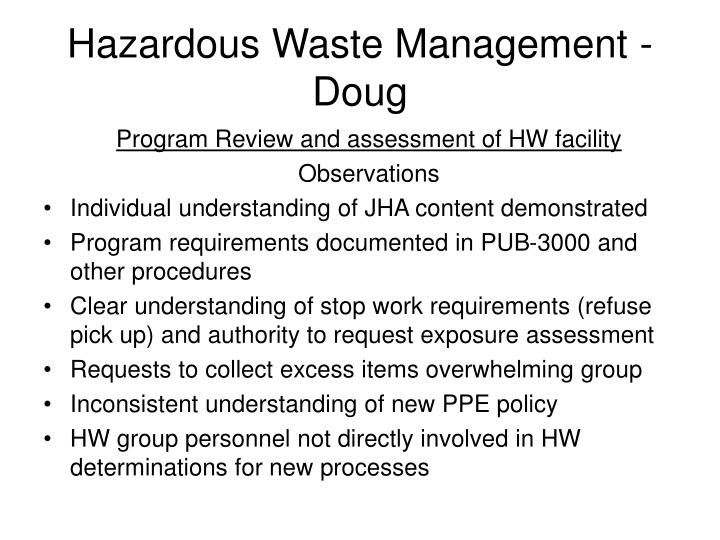 Hazardous Waste Management - Doug