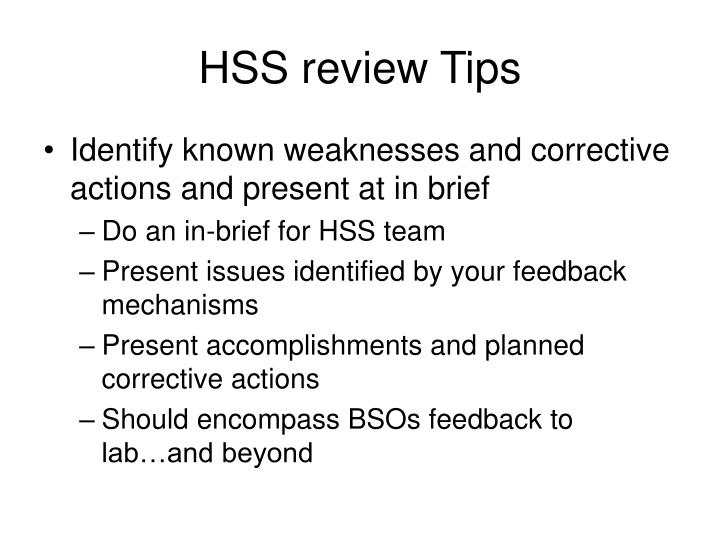 Hss review tips