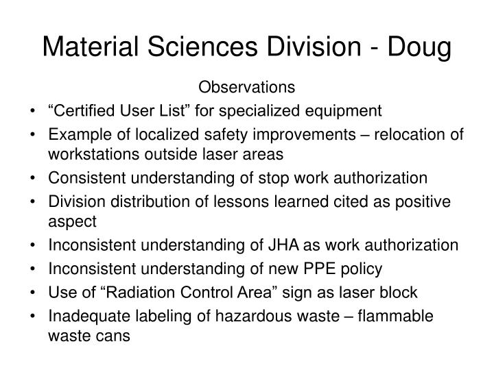 Material Sciences Division - Doug