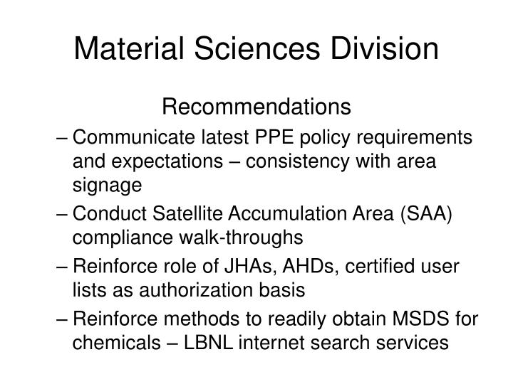 Material Sciences Division