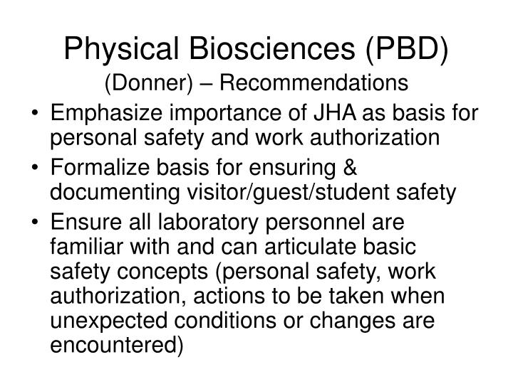 Physical Biosciences (PBD)