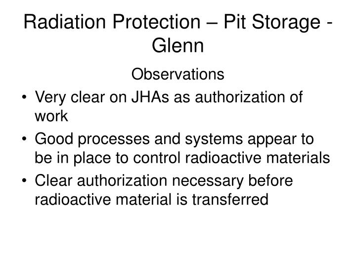 Radiation Protection – Pit Storage - Glenn