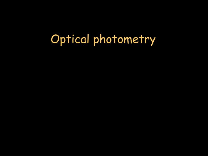 Optical photometry