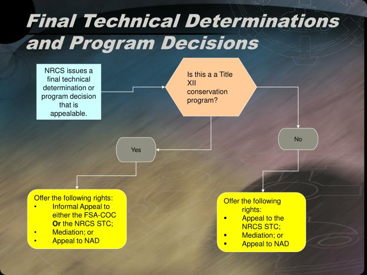 Final Technical Determinations and Program Decisions