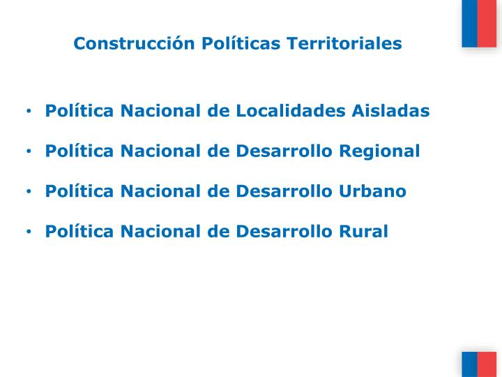 Construcción Políticas Territoriales