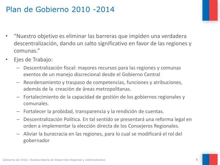 Plan de Gobierno 2010 -2014