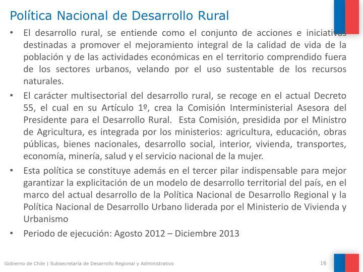 Política Nacional de Desarrollo Rural