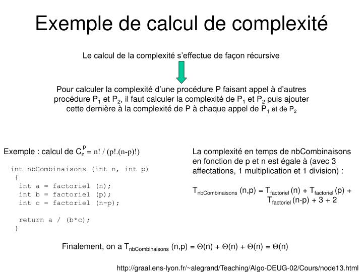 Exemple de calcul de complexité