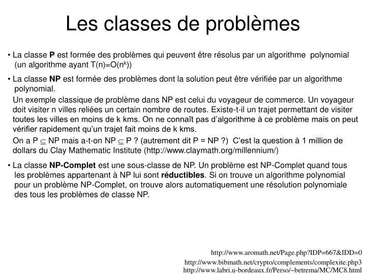 Les classes de problèmes
