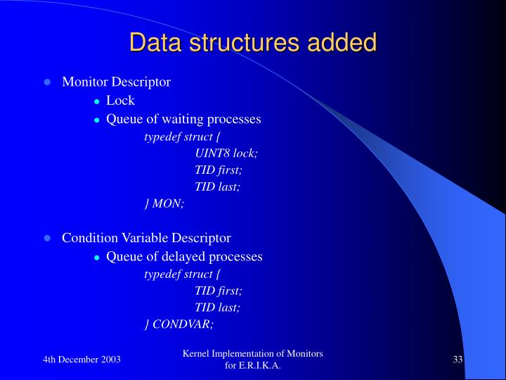Data structures added