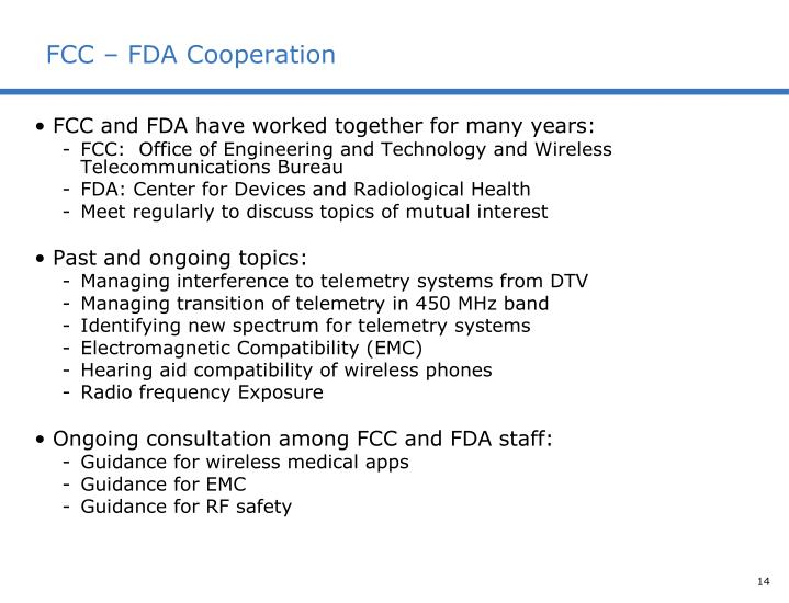 FCC – FDA Cooperation