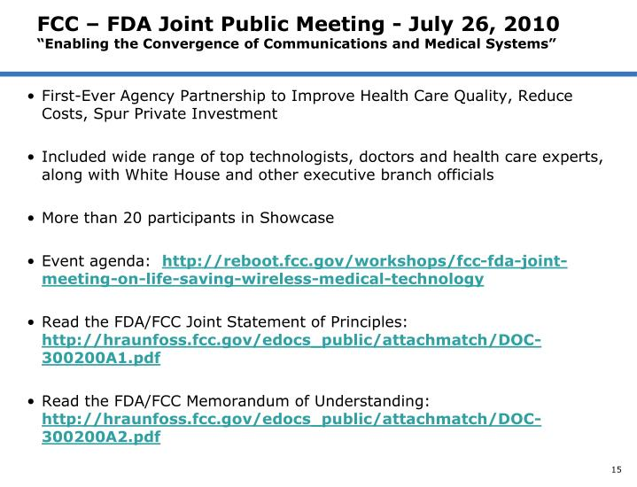 FCC – FDA Joint Public Meeting - July 26, 2010
