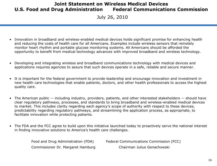 Joint Statement on Wireless Medical Devices