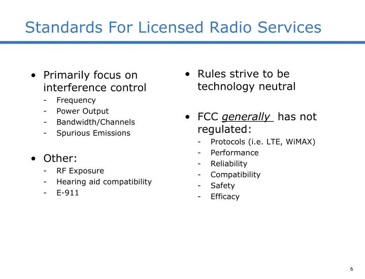 Standards For Licensed Radio Services