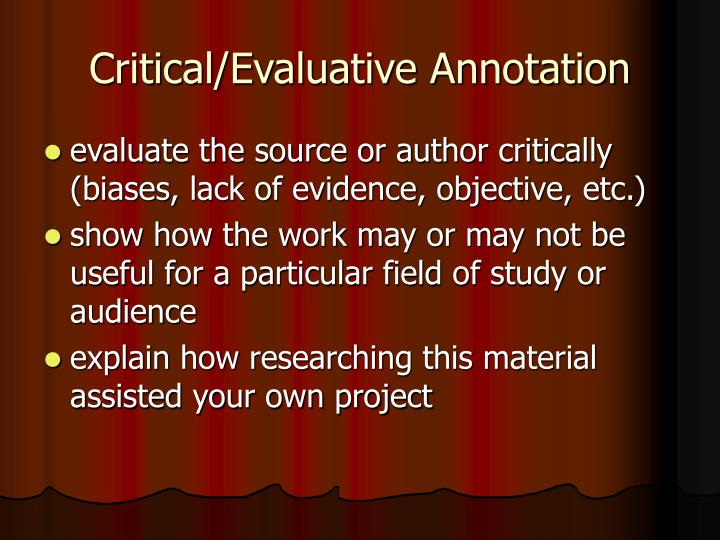 Critical/Evaluative Annotation