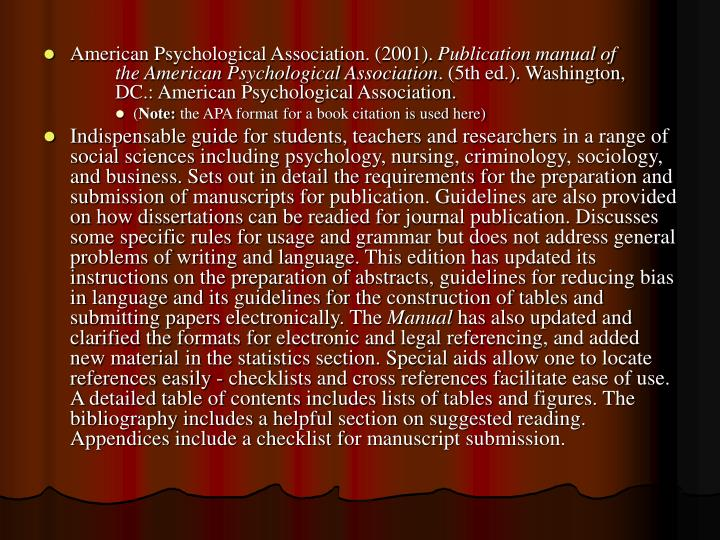 American Psychological Association. (2001).