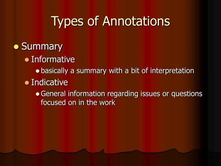 Types of Annotations